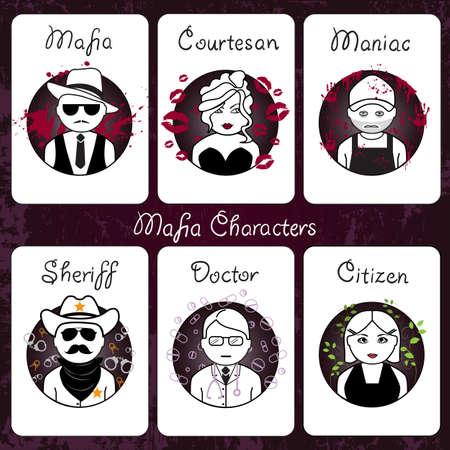 Mafia characters card set illustration on dark background.