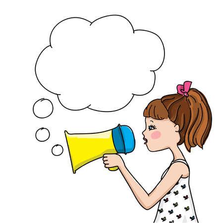 Vector cute little girl speaks in megaphone