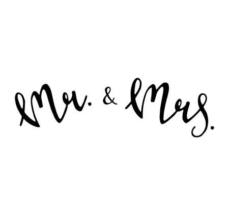 Mr and Mrs wedding sign. Mister and Missis. Hand drawn lettering vector illustration.