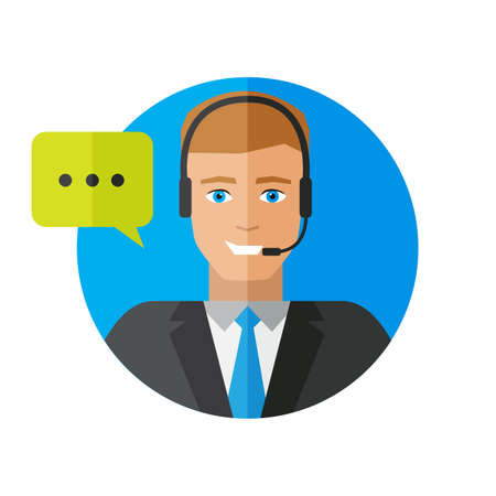Operator service support and call center with colorful speech bubbles conceptual of client services and communication in a flat style 向量圖像
