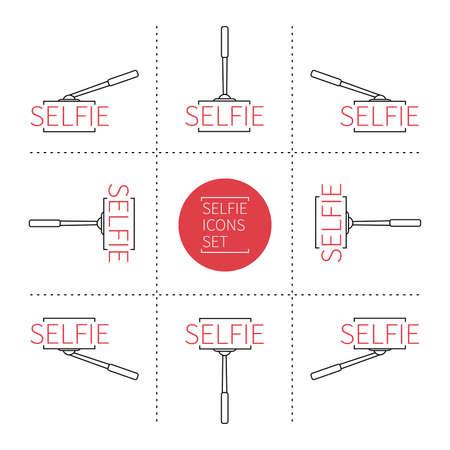 Selfie line icons set Vector illustration. 向量圖像