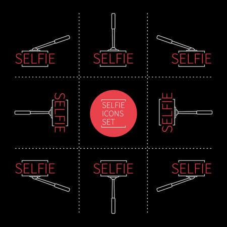 Selfie social media line icons set