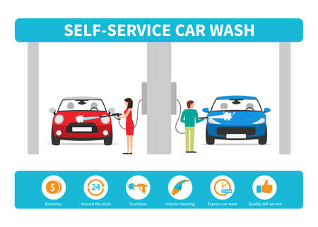 Business concept self-service car wash. Vector infographics in a flat style. 向量圖像