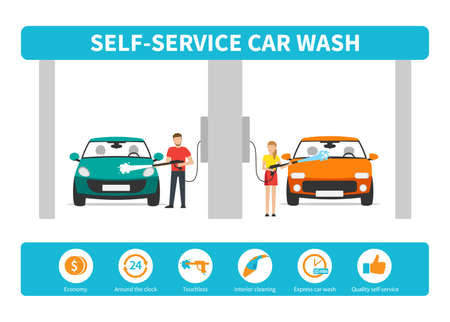 Innovative self-service car wash infographics. Set vector flat icons.