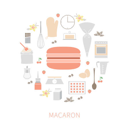 Vector set of ingredients and tools for cooking French pastry macaron. Flat colorful icons and badges; graphic design elements. 向量圖像