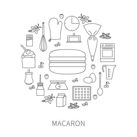 Vector set of ingredients and tools for cooking French pastry macaron. Contour icons and outline badges, graphic design elements in linear style. 向量圖像