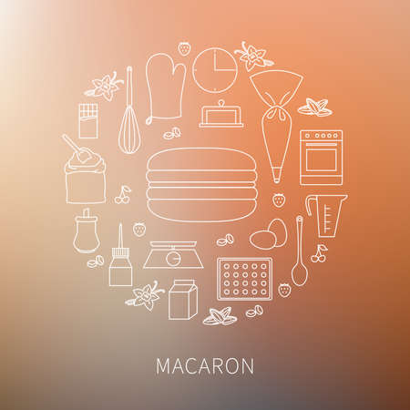 Vector set of ingredients and tools for cooking French pastry macaron. Contour icons and outline badges, graphic design elements in linear style on blurred background.