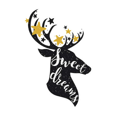 Sweet dreams сoncept with a deer and stars. Hand drawn lettering quote illustration