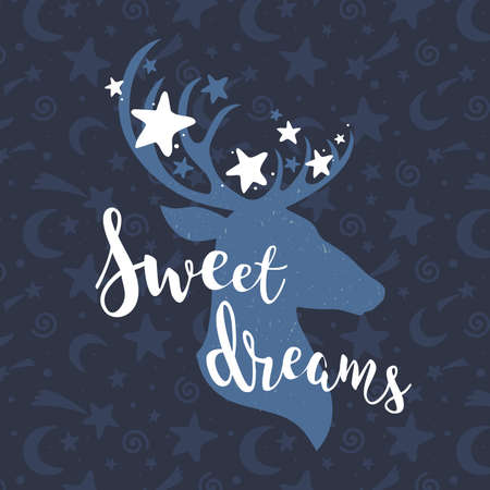 Sweet dreams blue concept with a deer and stars. Hand drawn lettering quote vector illustration. For card design, sticker, posters, prints Apparel, t-shirt, bag 向量圖像