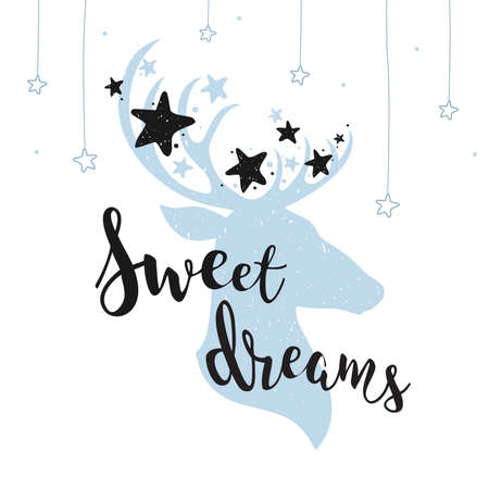 Sweet dreams cute concept with a deer and stars. Hand drawn lettering quote vector illustration. Apparel, t-shirt, bag, for card design, sticker, posters, prints.