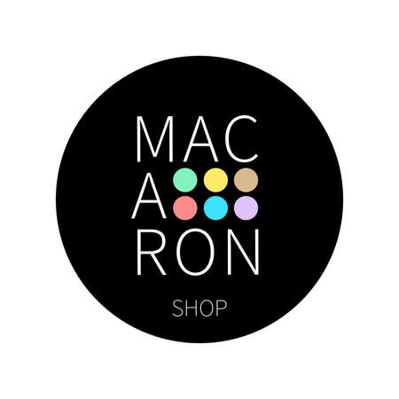 Vector logo macaron shop on black round sticker. Ð¡an find its application as a logo or icon in premium quality for shop, room, boutique and store.