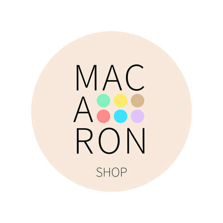 Vector logo macaron shop on pastel beige round sticker. Ð¡an find its application as a logo or icon in premium quality for shop, room, boutique, store. Illusztráció