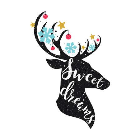Christmas deer. Sweet dreams lettering quot.
