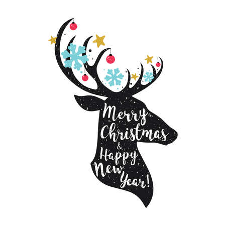 Christmas deer. Merry Christmas and Happy New year lettering quot.