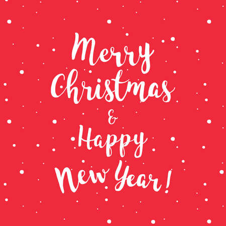 Merry Christmas and Happy New year lettering, red background.