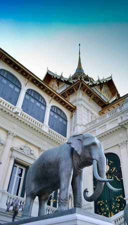 Elephant statue in Palace of the Emerald Buddha Temple in Bangkok Thailand. photo