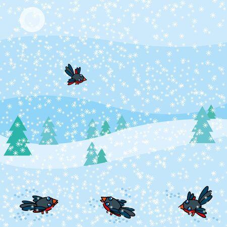 Birds in the snow Vector