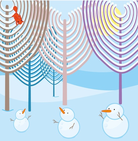 snowmen in the winter forest Vector