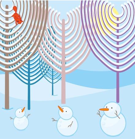 snowmen in the winter forest