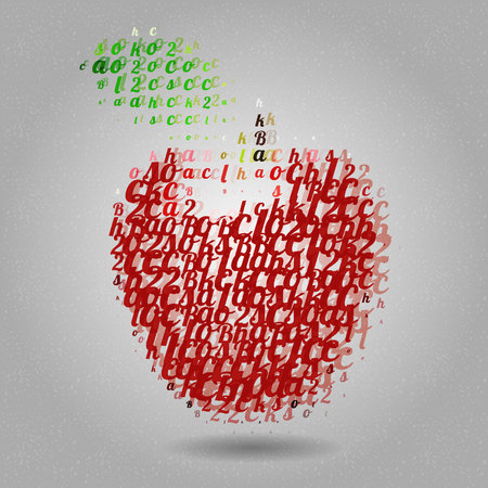 Apple made of letters Vector