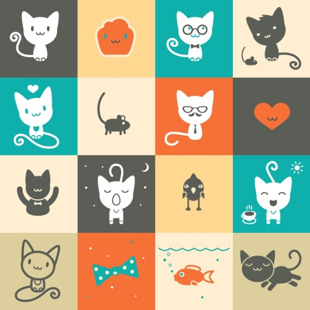 Set of colorful animal icons Illustration