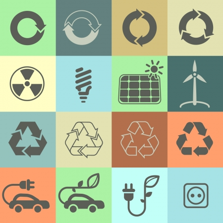 Ecology and environment icon set in vector format Vector