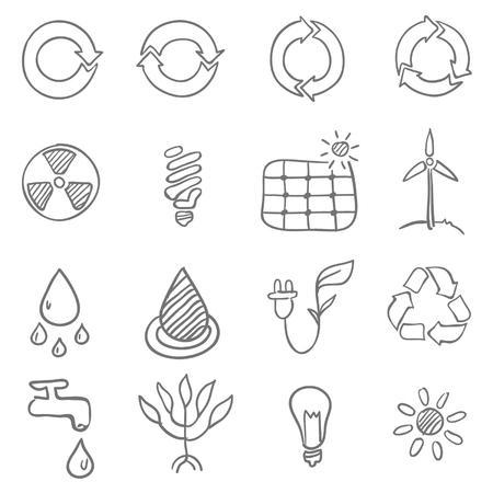 Hand drawn Ecological Icons Vector