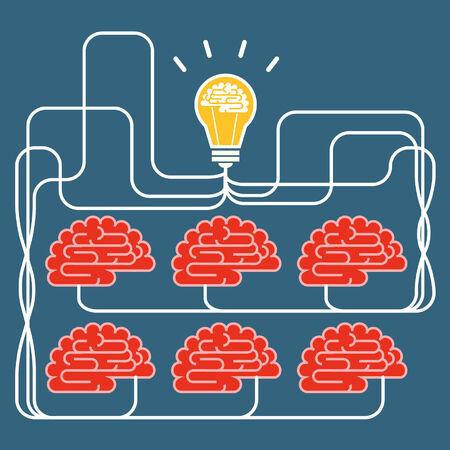 Brain and bulb light  Concept of Idea Vector