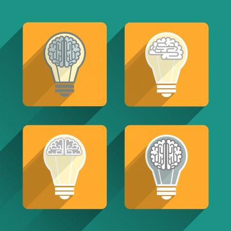 Light bulb with a brain  Icons with long shadow Illustration