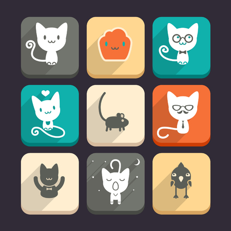 cat sleeping: Set of cats and animal icons