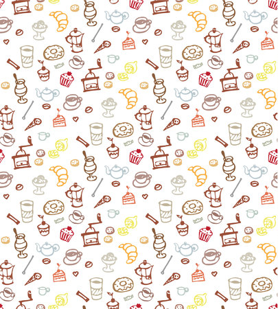 Seamless pattern with coffee cakes pies latte and cappuccino Vector