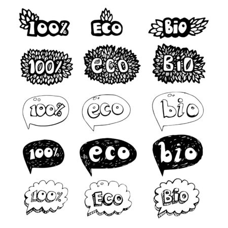 Ecology doodles icon set. Vector