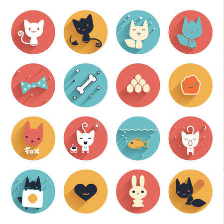 Flat style animals avatar and funny objects, vector circle icon set Vector