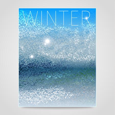 neve montagne: Astratto sfondo invernale con tondo e quadratini come il concetto di vacanze, neve, montagne Vettoriali
