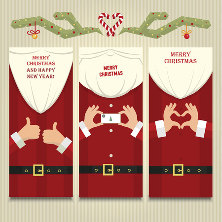Stylized christmas illustration with Santa Claus close up details Illustration