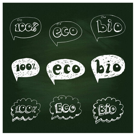 Ecology hand drawn bubble set on green chalkboard Vector