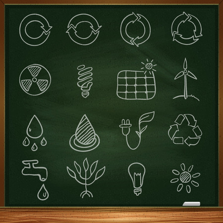 Ecological icons. Outline drawing with white chalk on a blackboard Vector