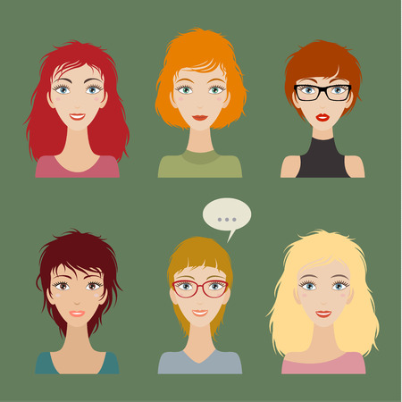 Illustrations of beautiful young girls with various hair style Stok Fotoğraf - 34125531