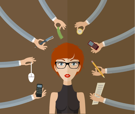 Business woman working hard in office with a lot of paper work. Business concept on hard working and multitasking. Flat style, vector illustration