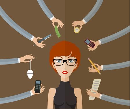 Zakenvrouw harde werken op kantoor met een hoop papier werk. Business concept op hard werken en multitasking. Vlakke stijl, vector illustratie