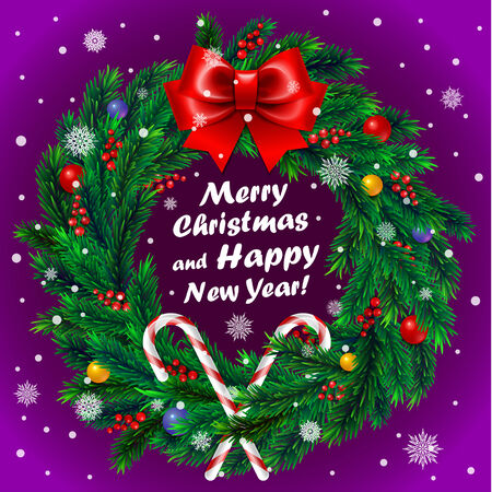 Christmas card with Christmas wreath with red ribbon and decoration on purple background Vector