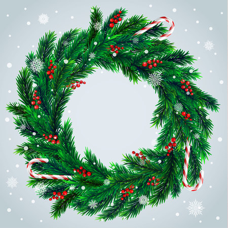 Realistic vector christmas wreath with red berries and candies on evergreen branches Vector