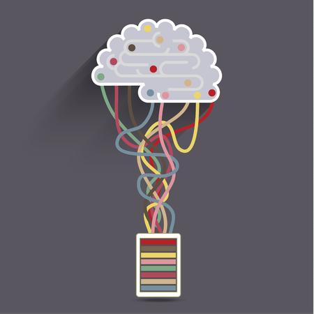 ligotage: Le cerveau est connect� au r�seau. Concept de l'intelligence artificielle Illustration