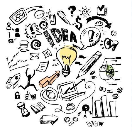 Business doodles. Concept of idea. Vector illustration Vettoriali