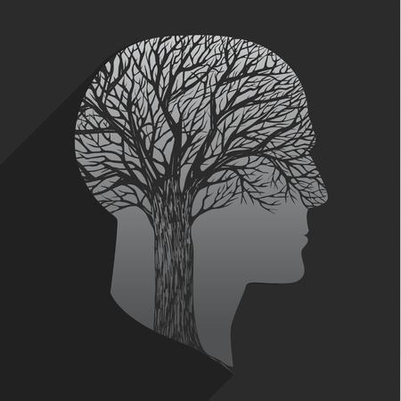 talamo: �rbol en forma de cabeza en el fondo oscuro