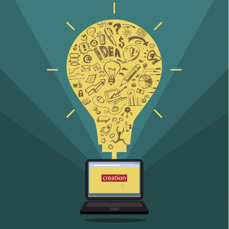 Business doodles in yellow silhouette of a bulb. Concept of idea Vector