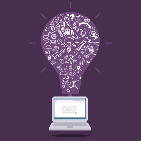 Business doodles in purple silhouette of a bulb. Concept of idea Vector