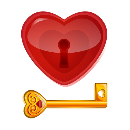 golden key: Red lock in the shape of heart with golden key. Concept of love