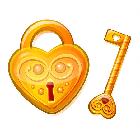 golden key: Golden lock in the shape of heart with golden key. Concept of love