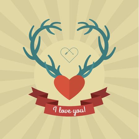 deer in heart: Heart with blue deer antlers. Vector illustration. Card of Valentines day Illustration